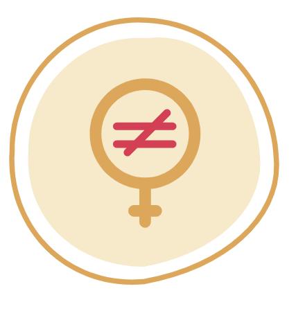 Imagem apresenta simbolo de 'feminino' com símbolo de 'diferente' dentro. Totalidade da imagem pode ser lida como 'não à desigualdade de gênero'.
