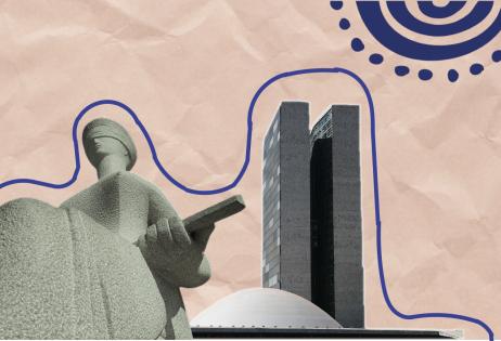 Em montagem de foto sobreposta a papel craft, é possível ver o edifício do Senado Federal, em Brasília e estátua da justiça do STF. Foto acompanha matéria sobre um Escola Sem Partido e Fundeb