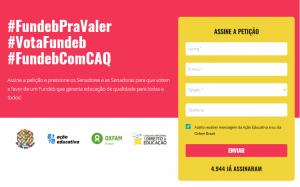 Captura de tela mostra formulário de assinatura da petição por um #FundebPraValer.