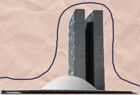 Em montagem de foto sobreposta a papel craft, é possível ver o edifício do Senado Federal, em Brasília. Foto acompanha matéria sobre um #FundebPraValer