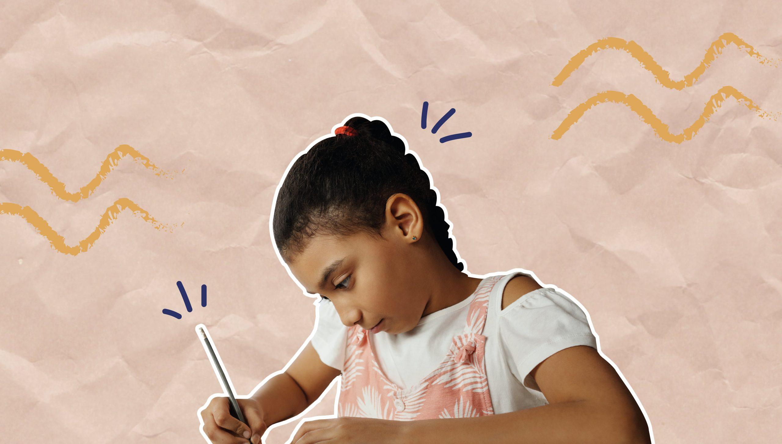Em colagem, é possível ver menina escrevendo. Ao fundo, há elementos decorativos.