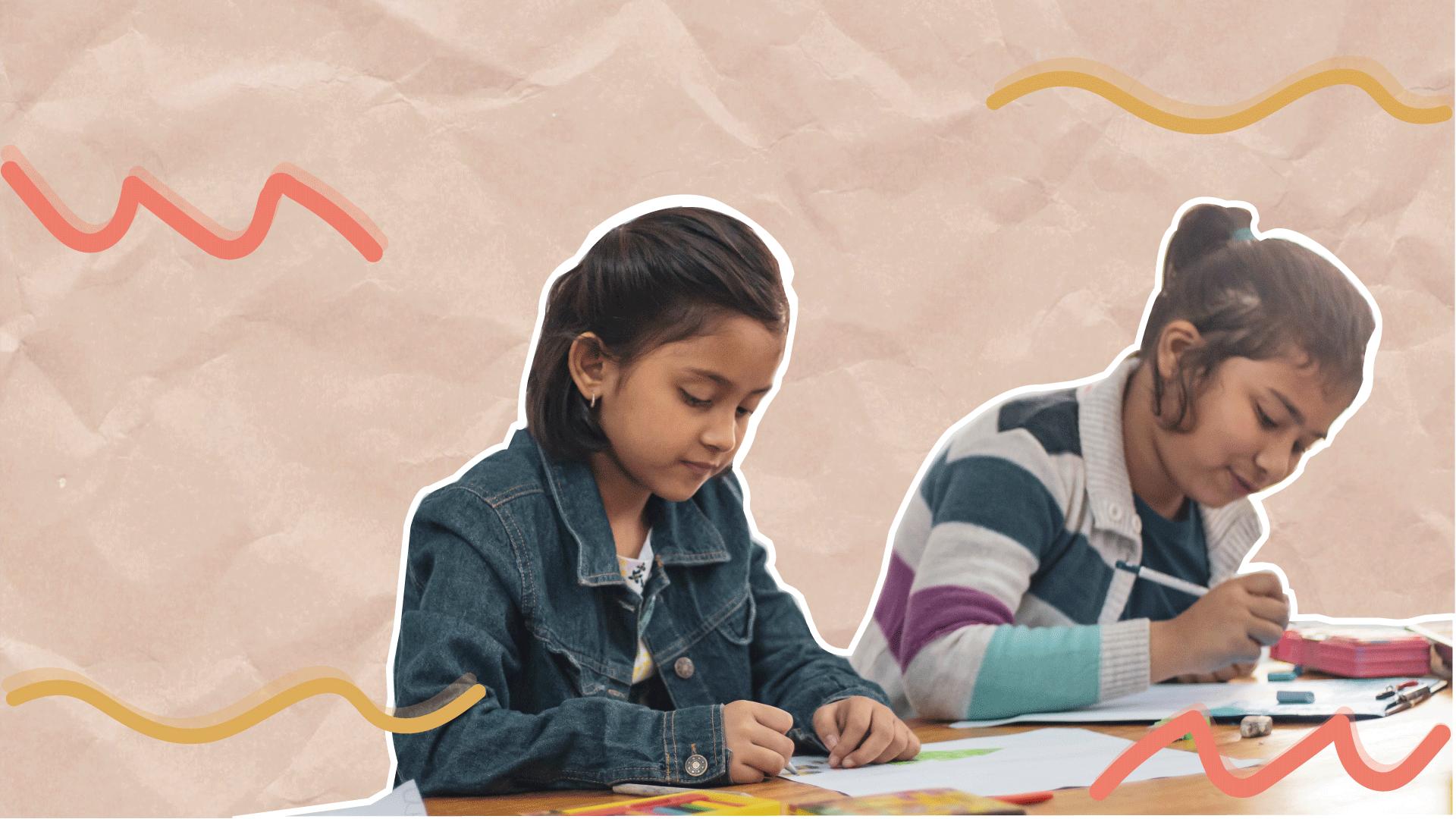 Em colagem, é possível ver duas meninas desenhando