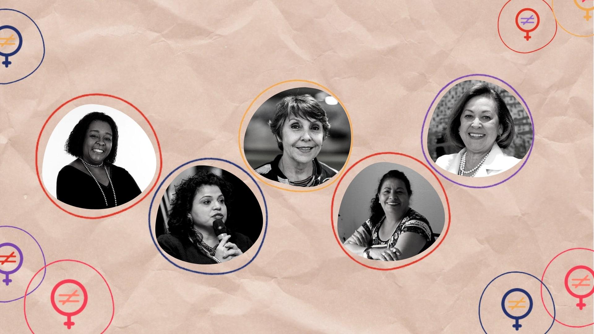 Foto de divulgação de evento que reúne as miniaturas de rosto das cinco participantes do webinário 'Educação como prevenção à violência contra meninas e mulheres'. São elas: Lídice da Mata, Maria Guaneci Marques de Ávila, Erika Kokay, Ingrid Leão e Regina Célia A. S. Barbosa.