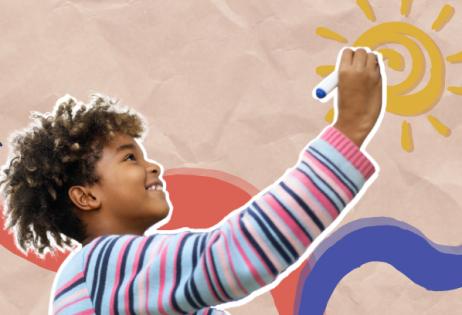 Em colagem, é possível ver criança desenhando um sol