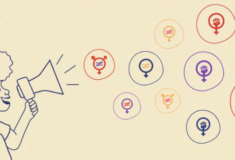 Em imagem de fundo bege, é possível ver mulher com megafone, de onde saem ícones do feminismo.