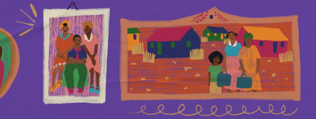 Ilustração de plano de aula do edital Igualdade de Gênero na Educação Básica. Na imagem, é possível ver porta-retratos fotos de famílias. Ilustradora: Barbara Quintino.