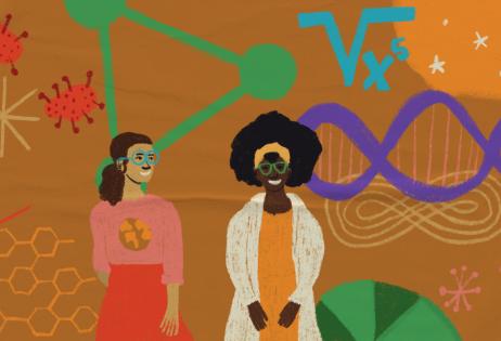 Ilustração de plano de aula do edital Igualdade de Gênero na Educação Básica. Na centro da imagem, há duas mulheres. Uma dela usa um jaleco e outra está com uma camiseta com o globo terrestre representaodo. Ao fundo, há fórmulas, moléculas, um DNA, representações de bactérias e uma vacina. Ilustradora: Barbara Quintino.