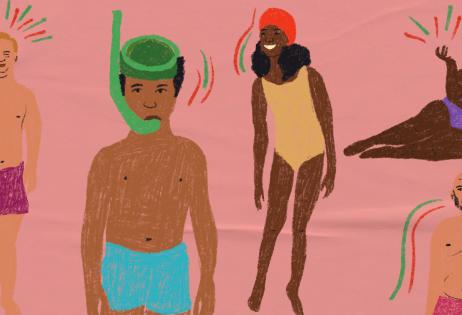 Ilustração de plano de aula do edital Igualdade de Gênero na Educação Básica. Na imagem, é possível ver sete pessoas, de diferentes gêneros e idades. As pessoas estão com trajes de banho e é possível ver diferentes corpos. Há pessoas gordas, magras, altas, baixas. Ilustradora: Barbara Quintino.