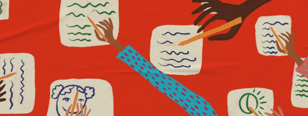 Ilustração de plano de aula do edital Igualdade de Gênero na Educação Básica. Na imagem, é possível ver várias mãos escrevendo e desenhando em folhas de papel. Ilustradora: Barbara Quintino.