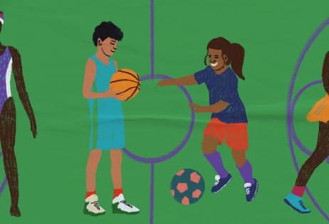 Ilustração de plano de aula do edital Igualdade de Gênero na Educação Básica. Na imagem, é possível ver quatro pessoas praticantes de diferentes esportes: natação, basquete, futebol e tênis. No chão, há linhas que lembram a divisão de uma quadra. Ilustradora: Barbara Quintino.