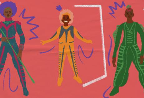 Ilustração de plano de aula do edital Igualdade de Gênero na Educação Básica. Na imagem, há três mulheres negras super heroínas. Ilustradora: Barbara Quintino.