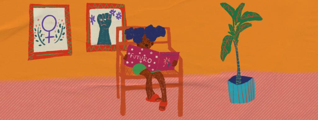 Ilustração de plano de aula do edital Igualdade de Gênero na Educação Básica. No centro da imagem há uma menina negra sentada em uma cadeira lendo um livro. Na capa do livro, há uma flor e está grafado 'futuro'. Ao fundo, há dois quadros na parede: um com um punho cerrado e outro com o espelho de vênus. Ilustradora: Barbara Quintino.