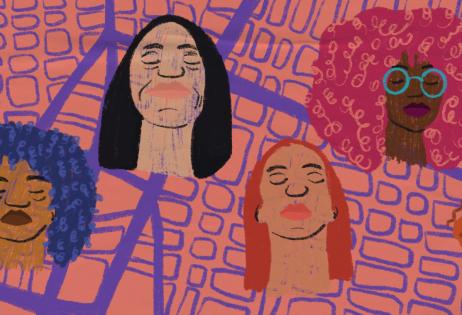 Ilustração de plano de aula do edital Igualdade de Gênero na Educação Básica. Sobrepostos a um mapa, há seis rostos de mulheres. Ilustradora: Barbara Quintino.