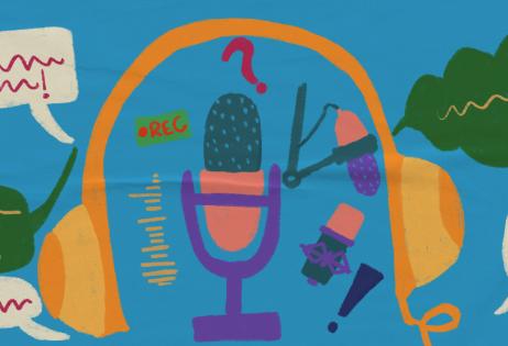 Ilustração de plano de aula do edital Igualdade de Gênero na Educação Básica. Na imagem há microfones, fones de ouvido, representações de som e balões de fala. Ilustradora: Barbara Quintino.
