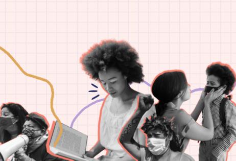Imagem de Destaque: Plataforma Dhesca lança edital de coleta de relatos para a Memória Popular da Pandemia. Imagem produzida por técnica de colagem, utilizando fotografias de Mídia Ninja e Pexels. Na imagem há ativistas, uma menina lendo um livro e uma mulher colocando máscara facial em uma criança